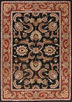 100% Wool Classic Floral Black 8x11 Oushak Agra Persian Orie