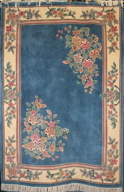 100% Wool Pile Hand Tufted Aubusson Rug - One of a Kind - 5'