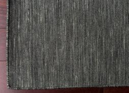 100% Wool Solid Charcoal Color Flat Weave Handmade Area Rug