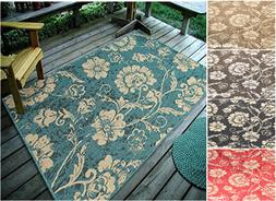 """4'5"""" x 7' Floral Leaves, Indoor & Outdoor Area Rug - 111"""