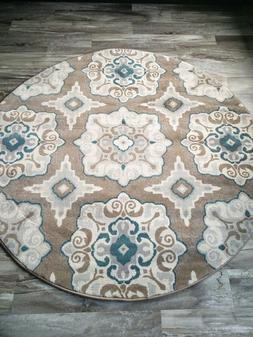 8' Round  Transitional Modern Contemporary Floral Area Rug