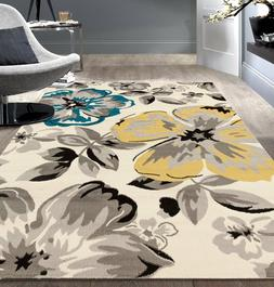 8 x 10 Gray Teal Yellow Area Rug Oversized Floral Contempora