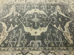 8x10 GRAY WOOL RUG HAND KNOTTED MUTED ORIENTAL handmade usha