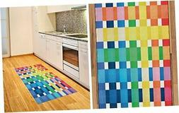 Ambesonne Checkered Area Rug, Rainbow Colors Contiguous Big