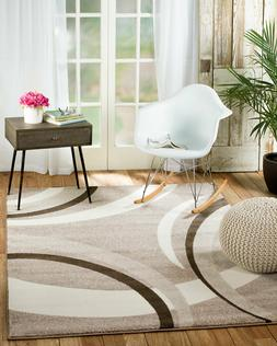 area rug Brasil #302 Modern Taupe, white brown soft, size op