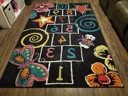 Area Rug For Kids Room With Hopscotch Game Board 5'x8' Color