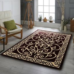 Area rug Nwprt #63 Traditional  gold dark brown soft pile si