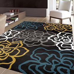 Area Rugs For Living Room Modern Floral Flowers 5x7 Yellow G