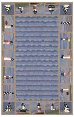 "AREA RUGS - ""CABOT COVE"" LIGHTHOUSE BORDER RUG - 100% WOOL R"