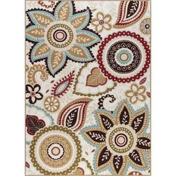 Beige Floral Paisley Transitional Non Skid Area Rug
