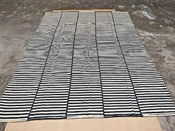 Black White Area Rug Hand Woven Carpet Rug 100% Wool Striped