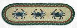 """BLUE CRABS 100% Natural Braided Jute Rug, 27"""" x 8.25"""" Oval,"""