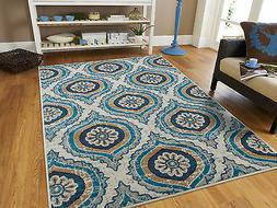Blue Modern Large Area Rugs 8x10 Carpet Contemporary Rug 5x7