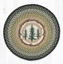 Braided Round Stenciled Painted Area Rug By Earth Rugs. TALL