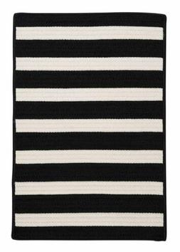 Colonial Mills Braided Rugs in Black White Stripes Striped O