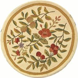 Chelsea Safavieh Floral Ivory Wool Area Rug 4' x 4' Round