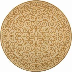 Safavieh Chelsea Ivory And Gold Wool Area Rug 4' x 4' Round