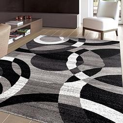 """Rugshop Contemporary Modern Circles Abstract Area Rug, 5'3"""""""