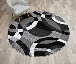 Rugshop Contemporary Modern Circles Abstract Round Area Rug,