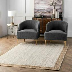 nuLOOM Contemporary Modern Simple Border Natural Jute Area R