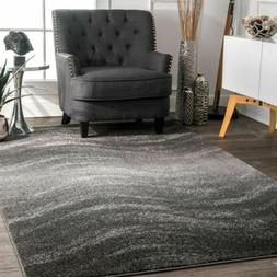 nuLOOM Contemporary Modern Waves Design Area Rug in Gray