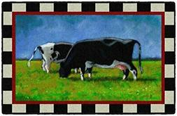 """Brumlow Mills Country Cows Kitchen Farmhouse Rug, 1'8"""" X 2'1"""