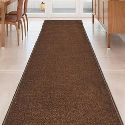Custom Size SOLID BROWN Stair Hallway Runner Rug Non Slip Ru