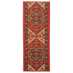 Custom Size Hallway Runner Rug Non Slip Rubber Back RED Trad