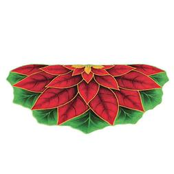 Cut Out Poinsettia Half Circle Accent Rug for Kitchen, Entry