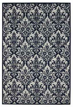 Nourison Damask Ivory and Navy Rectangle Area Rug 5' x 7'