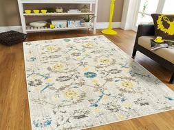 Distressed Area Rugs 8x10 Cream Yellow Blue Rug 5x7 Living R
