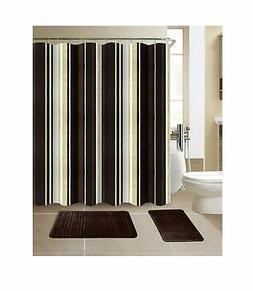 Exclusive Decorative Shower Curtain and Memory Foam Rugs Set