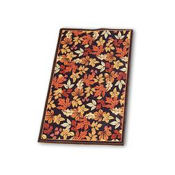 Fall Leaves Accented Printed Throw Rug, Home Decor