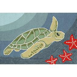 Liora Manne FT123A93504 Whimsy Turtle In The Ocean Rug, Indo