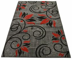 Gray Color Flowers Floral Circle Design Area Rug Rugs Area R