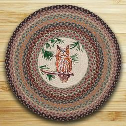 """GREAT HORNED OWL 100% Natural Braided Jute Rug, 27"""" Round, C"""