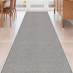 Kapaqua Grey Solid Plain Rubber Backed Non-Slip Hallway Stai