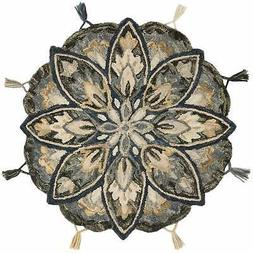 Hand-hooked Slate/ Beige Floral Round Wool Area Rug - 3' x I