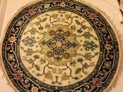 Hand Knotted NEW WOOL Round Heriz Serapi 4X4 Indian Area Rug
