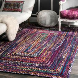 nuLOOM Hand Made Bohemian Braided Cotton Area Rug in Blue, P