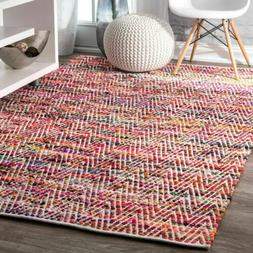 nuLOOM Hand Made Contemporary Cotton Blend Area Rug in Red,