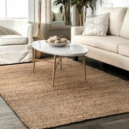 nuLOOM Hand Made Contemporary Modern Solid Jute Area Rug in