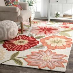 nuLOOM Hand Made Country Floral Area Rug in Ivory, Pink, Red
