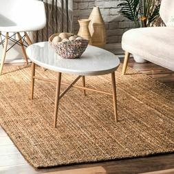 nuLOOM Hand Made Modern Simple Ribbed Jute Area Rug in Solid