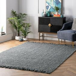 nuLOOM Hand Made Natural Jute Area Rug in Solid Grey-Green S