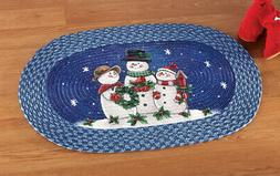 Collections Etc Happy Winter Snowmen Braided Rug