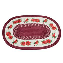 Collections Etc Holiday Cardinal Braided Rug OVAL