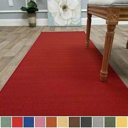 Kapaqua Solid Colored Non-Slip Runner Rug Rubber Backed 2x12