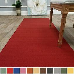 Kapaqua Solid Colored Non-Slip Runner Rug Rubber Backed 2x8
