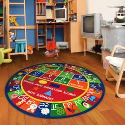 "3'3"" Kids Round ABC Alphabet Numbers Educational Non Skid Ar"